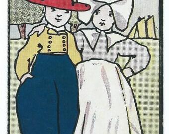 Vintage 1900's UDB Comic Romantic Postcard of Dutch Couple