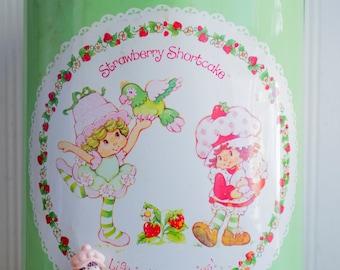 Strawberry Shortcake Vintage Metal Waste Basket, Vintage 80's Trash Can for Little Girls, Mint Green Pink