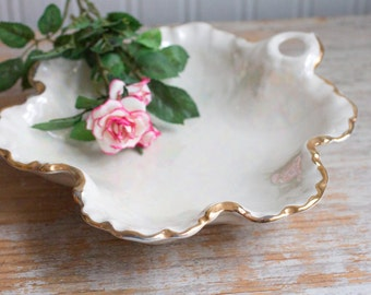 Vintage 1940's Trinket Dish, Art Nouveau Vanity Tray, Iridescent Pearl White Gold, Romantic Bedroom, Shabby Cottage Chic
