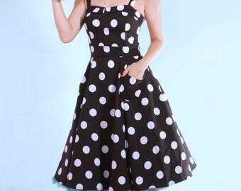 Lucy Black Polka Dot Rockabilly Swing Dress