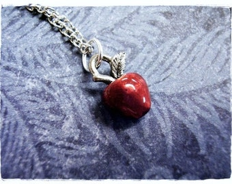 Tiny Red Apple Necklace -  Enameled Antique Pewter Red Apple Charm on a Delicate Silver Plated Cable Chain or Charm Only