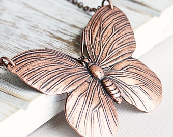 Copper Butterfly Necklace, Large Butterfly Pendant on Antiqued Copper Plated Chain, Insect Jewelry, Butterfly Lover Gift