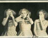 See No Evil, Hear No Evil, Speak No Evil or Maybe Not - TRICK PHOTOGRAPHY Photo circa 1940s
