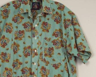oversize boxy 80s Vintage short sleeve shirt Salty Dog Gant green stripe paisley summer button down collar cotton men's shirt 50 inch chest