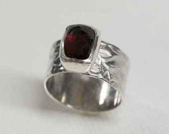 Red Garnet Ring in Sterling Silver Wide Band Size 6.5 Handcrafted