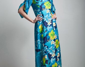 blue hawaiian floral maxi dress 70s vintage split funnel sleeves ankle length SMALL S