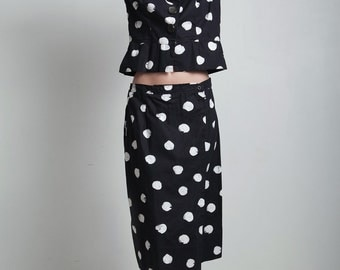 polka dot black white peplum top skirt suit 2-piece set vintage 70s long sleeves LARGE L