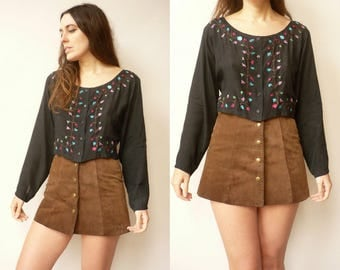 Vintage Hippie Floral Embroidered Cropped Folk Blouse Top Size Medium