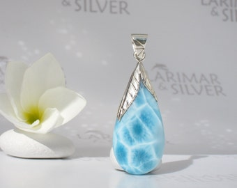 Larimarandsilver drop pendant, Water Berry - aqua Larimar drop, water drop, turtleback, blue topaz drop, fairy tear handmade Larimar pendant