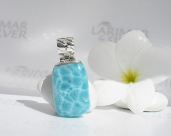 Larimar pendant from Larimarandsilver, Mermaid Jade - aqua teal Larimar drop, turtleback, minty, tumbled stone, handcrafted Larimar pendant