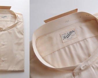 1920s Manhattan Shirt Co. Ivory White Mens Collarless button fron Dress Shirt unworn Factory Folds new old stock size 16 1/2 Art Deco