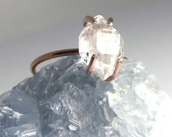 Herkimer Diamond Ring, Herkimer Ring, Statement Ring, Diamond Ring, Stacking Ring, Rose gold ring, Rose gold Herkimer, Alternate engagement