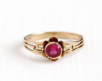Sale - Vintage 10k Yellow Gold Created Ruby Buttercup Flower Filigree Ring - Size 7 3/4 Pink Fine Jewelry July Birthstone Hallmarked M&C