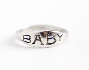Vintage Art Deco Sterling Silver Enamel Baby Signet Ring - 1930s Size 1 3/4 Endearing Cute Word Text Midi Knuckle Pinky Petite Jewelry