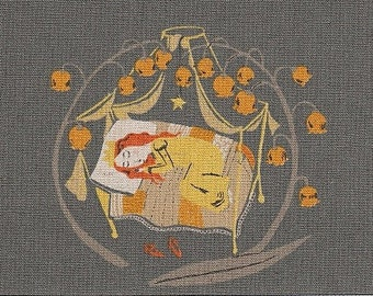 Heather Ross Fabric/Far Far Away 2 Fabric/Sleeping Beauty in Charcoal Fabric/Cotton Linen Fabric