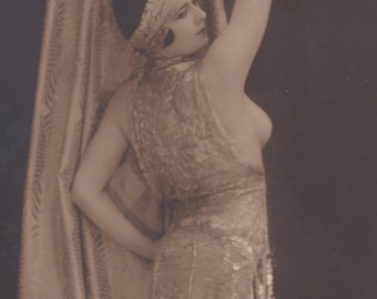 Topless Dancer in Silk and Sequins, circa 1910s/20s. French Postcard Ed. A. Noyer