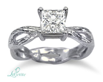 Twig Princess Cut Engagement Ring   Twisted Shank Twig Moissanite Ring