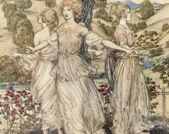Hesperus, Arthur Rackham, Vinatge Art Print