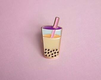 Bubble Tea Boba Enamel Pin Brooch lapel pin Sweet Tea Tapioca Milk Tea