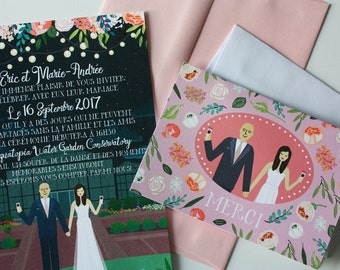 Invite Card and Thank You Note : Custom Illustrated Wedding Invitations, Design Fee