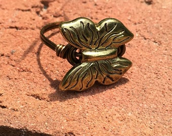Butterfly , antique brass wire wrapped ring - size 9 , metal wrap , gold , garden nature animal totem , insect , fly , women men jewelry