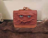 Dragon-eyed Purse (Brown with  Brown Leather  and Blue eyes)