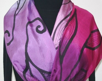 Pink, Lavender, Black Hand Painted Silk Scarf GARDEN Of LOVE-1, in Several SIZES. Handmade Silk Scarf. Birthday Gift, Anniversary Gift