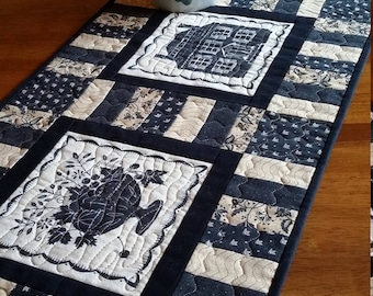 "Quilted Table Runner, Colonial Table Runner 14 x 36"", Black and Tan Table Runner, Sturbridge Table Topper, Quiltsy Handmade"