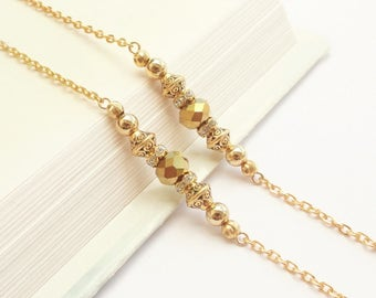 Glasses Chain Gold, Gold Eyeglass Chain, Gold Eyeglass Holder, Gold Lanyard, Gold Sunglasses Holder, Simple Gold Glasses Chain for Women