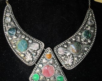 Indian Kutch Gipsy Three Section German Silver and Stones Necklace