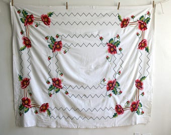 Poppy Flower Embroidered Tablecloth