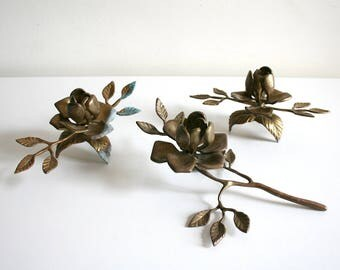 SALE Brass Rose Candlestick Holders