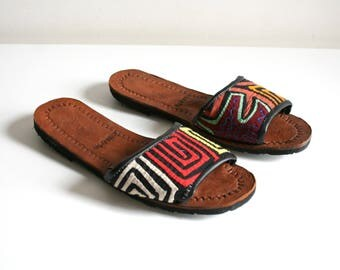 Handmade Mola Textile Panama Sandals 36/5