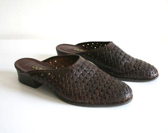 Woven Leather Slide Mules 8