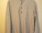 "Vintage 1970s cotton Banded collar pullover ""granddad"" shirt Striped"