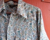 70s Forest Paisley Floral Sears Western Wear Snap Up Hipster Hippie Cowboy Paper Thin Dress Shirt Tall XL