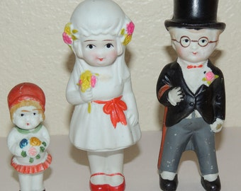 Early JAPAN Bisque Bride, Groom and Flower Girl