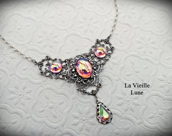Pink Victorian Necklace and Earrings,  Pink Jewel Necklace Set, Rose Crystal Bridal Set, Art Nouveau Necklace, Victorian Wedding Jewelry Set