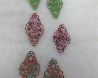 Hand Painted Filigree Findings Fancy Metal Connectors or Findings for Jewlery Making Earring Making or Assemblage Lime Green Red Pink Green