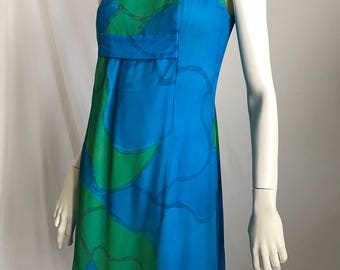 60's Turquoise and Green Crinkle Crepe Abstract Pattern Sleeveless Shift  With Clever Side Bow Detail