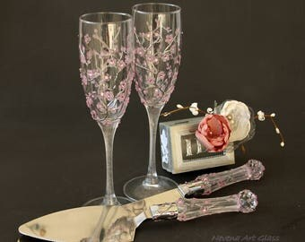 Wedding Set, Wedding Cake Server, Champagne Glasses, Champagne Flute, Sakura Wedding, Hand Painted, Set of 2