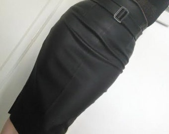 High waisted black leather skirt, wiggle skirt, vegan leather, midi skirt, detachable belt, made to measure