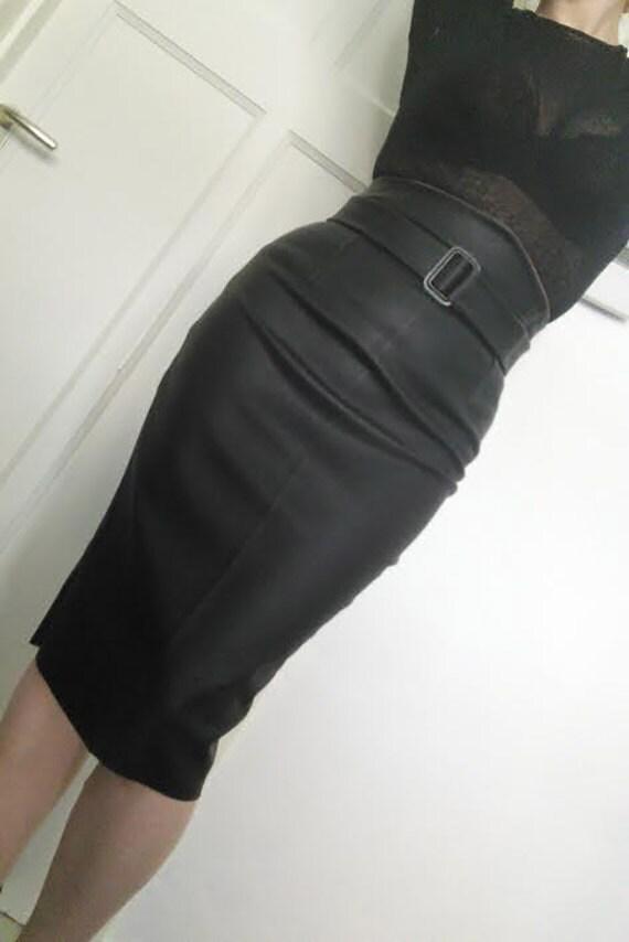 High waisted black leather skirt wiggle skirt vegan leather