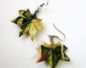 COMIC BOOK origami maple leaves dangle earrings