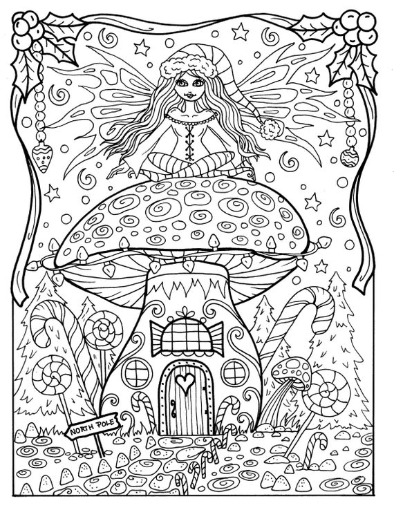 Fairy Christmas Coloring Page Adult