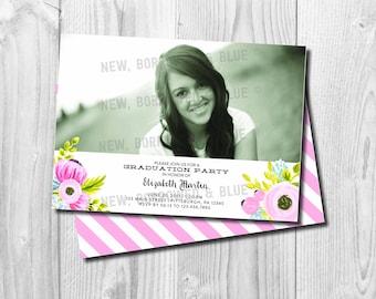 Printable Painted Flower Graduation Invitation