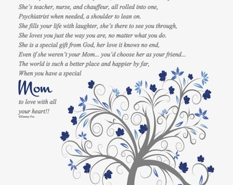 To Mom from Son-To Mom from Daughter-To Mom from Siblings-Gifts for Mom-Mother's Day-Christmas-Birthday-Thank You-Throughout Your Life Poem