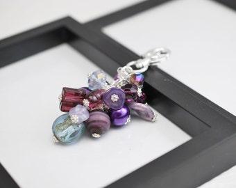 Purple Purse Charm, Beaded Purse Charm, Purple Bag Charm, Beaded Bag Charm, Handbag Charm, Purse Charm, Silver Purse Charm, Dark Purple