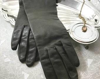 vintage leather gloves brown S