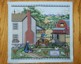 Amish Scene Counted Cross Stitch Wall Art Home Decor Horses Chickens Red Barn House Buggy Linda Fischer of Fischerimages